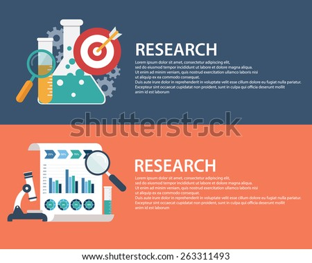 Flat style business research infographic concept and Investment research.  Web banners templates set - stock vector