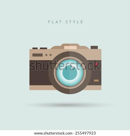 Flat style camera vector icon illustration - stock vector
