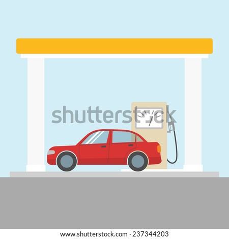 Flat style car at the gas station - stock vector