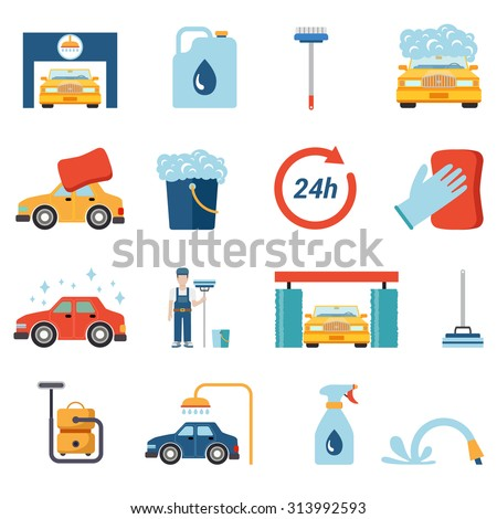 Flat style car wash cleaning service icon set. Wax foam detergent shower water shampoo vacuum cleaner worker stand conceptual icons. - stock vector