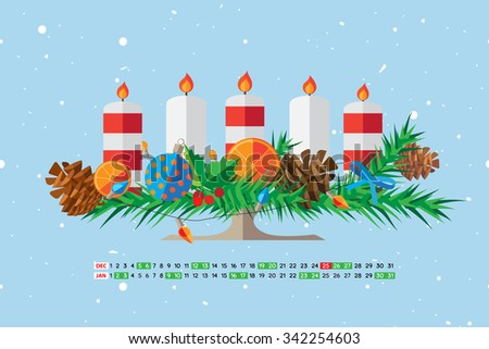 Flat style cartoon New Year calendar with cute candle. December and January. Vector illustration. - stock vector