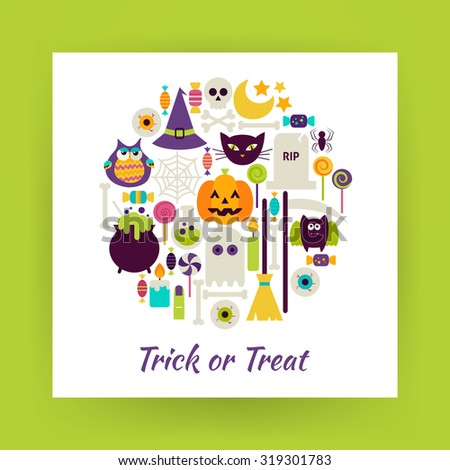 Flat Style Circle Vector Set of Halloween Holidays Trick or Treat Objects over white Paper. Collection of Witch and Magic Items Isolated over white. Design Elements over Paper Template - stock vector