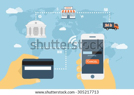 flat style concept for mobile payment using smartphone and credit card, near field communication technology, online banking, online shopping, e-commerce - stock vector