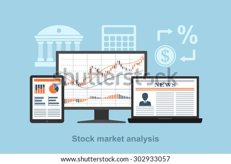 flat style concept for stock market analysis concept, online trading concept, forex concept - stock vector
