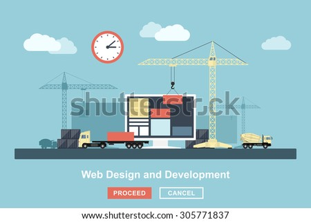 flat style concept for web design working process, metaphorical representation of web design workflow like industrial construction with lifting cranes, trucks etc. - stock vector