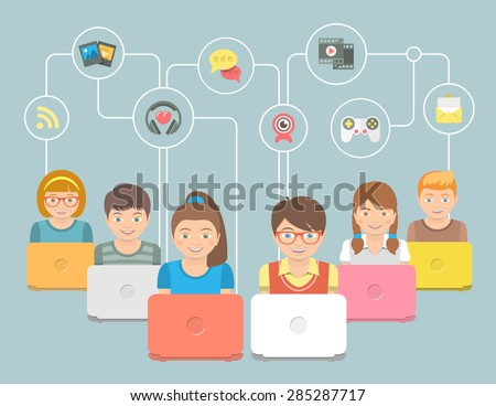 Flat style conceptual vector illustration of happy smiling children with laptops sharing multimedia information. Kids social media networking security infographic concept with portraits and icons - stock vector