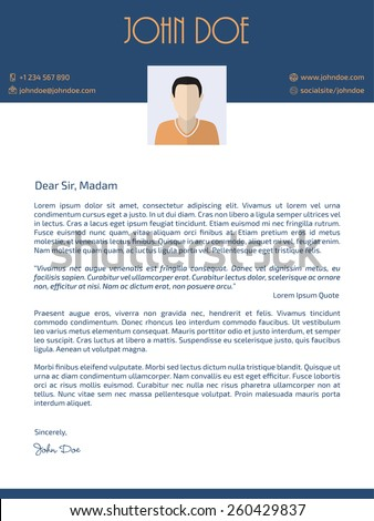Flat style cover letter design with photo - stock vector