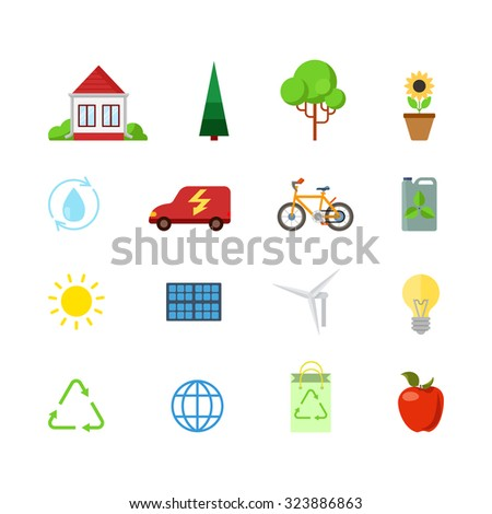 Flat style creative modern mobile eco green energy power web app concept icon set. Consumption nature friendly sun battery water circuit circulation wind turbine recycling. Website icons collection. - stock vector