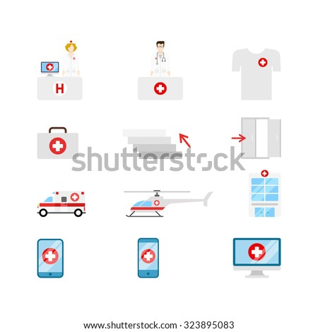 Flat style creative modern mobile medical hospital transport people gadget computer web app concept icon set. Nurse doctor t-shirt emergency briefcase stairs ambulance helicopter tablet infographics. - stock vector