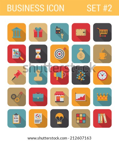 Flat style design long shadow business vector icon set. Bank, gift, car, key, alarm, cart, shopping, sale, hourglass, target, marketing, pin, money, shop, crown. Flat web and app icons collection. - stock vector