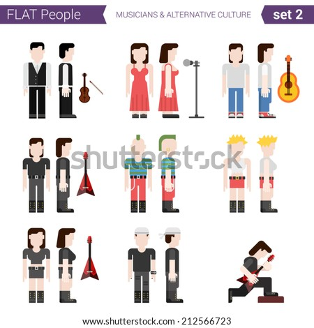 Flat style design people vector character avatar set. Music singers, performers, rock, punk culture, alternative. Flat people collection.  - stock vector
