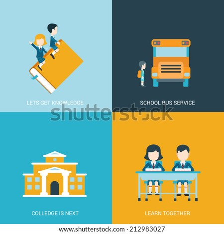 Flat style design vector illustration icon set back to school education concept. Boy and girl riding the book, sitting at the desk in classroom, schoolbus, college building. Big flat icons collection. - stock vector