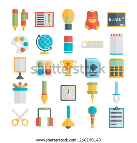Flat style, education and e-learning vector illustrations - stock vector