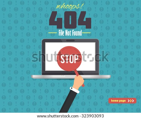 Flat Style 404 Error Illustration, Web Page Vector Design - stock vector