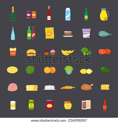 Flat Style Food and Beverages Icon Set. Big and Colorful. - stock vector