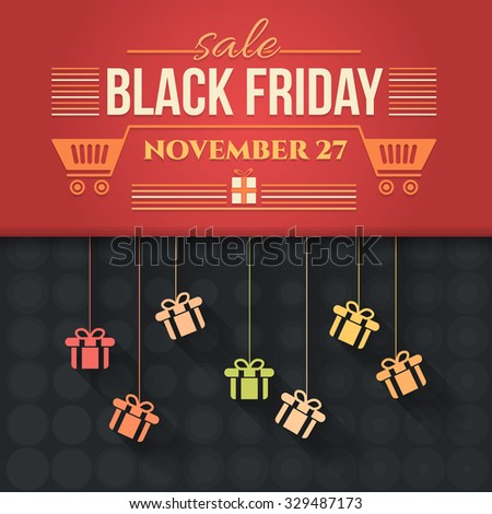 Flat Style Hanging Gift Boxes Black Friday Sale Poster, Flyer, Advertising Template  - stock vector