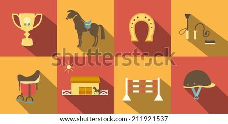 Flat Style Horse Icons in Alternate Red and Orange Background. - stock vector