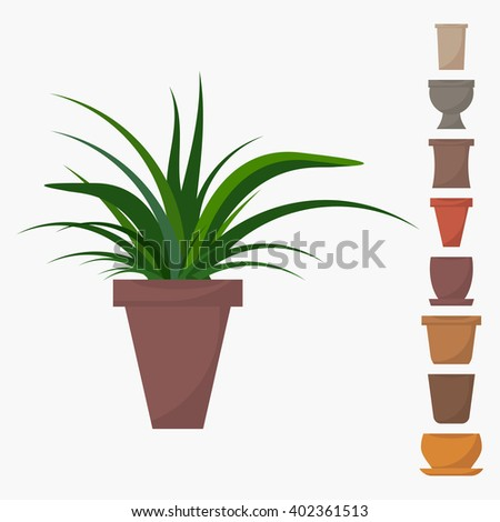 Flat style house plant in pot vector icon. Green indoor vector house plant with different pots icons. House plant isolated on white background. Set of pots icons. Indoor, office and house plant. - stock vector