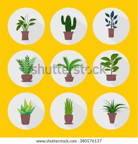 Flat style houseplants and flowers in pots vector icons. Set of green indoor vector houseplants icons. Houseplants with shadows on yellow background.  - stock vector