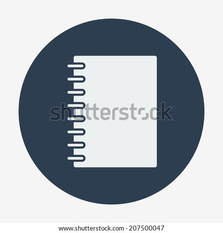 Flat style icon, notebook vector illustration. Education & science - stock vector