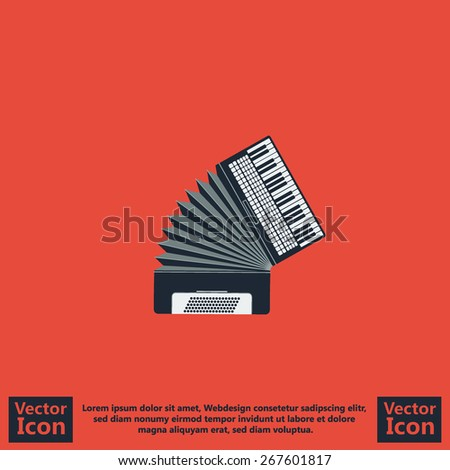 Flat style icon with accordion symbol - stock vector