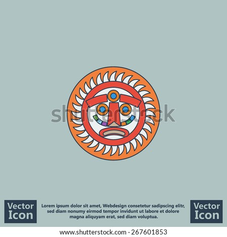 Flat style icon with aztec sun symbol - stock vector