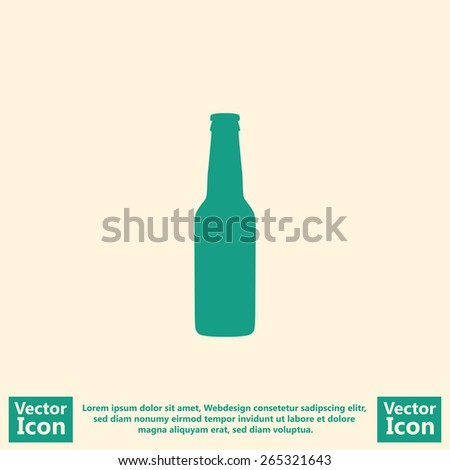 Flat style icon with beer bottle symbol - stock vector