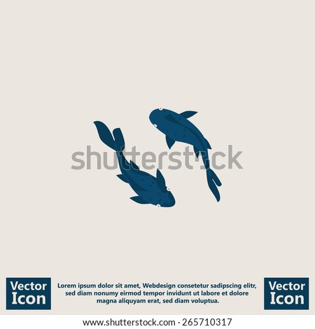 Flat style icon with Koi fish symbol - stock vector