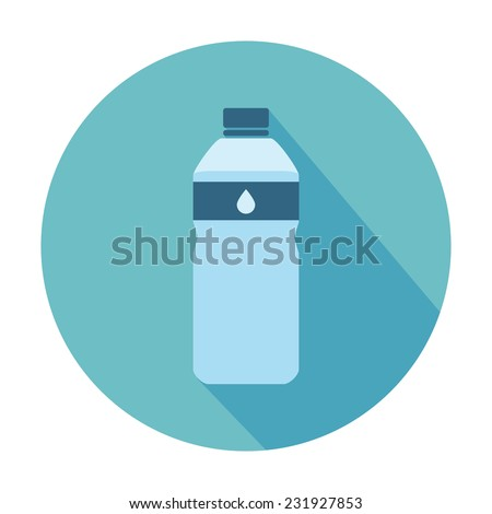 Flat Style Icon with Long Shadow. A bottle of water. Concept for education, training courses, self-development and how-to articles - stock vector