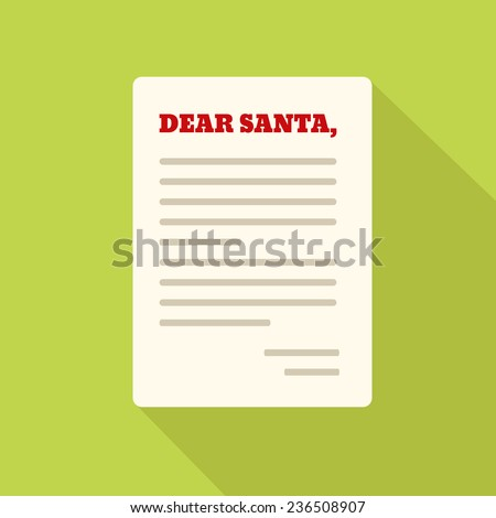 Flat Style Icon with Long Shadow. Letter to Santa - stock vector