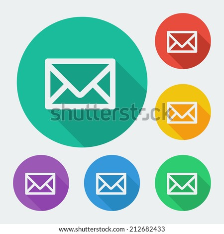 Flat style icon with long shadow, six colors, envelope vector illustration. - stock vector