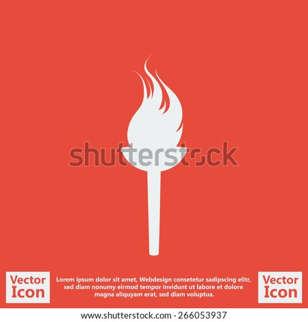 Flat style icon with torch symbol  - stock vector