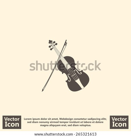 Flat style icon with violin and bow symbol - stock vector