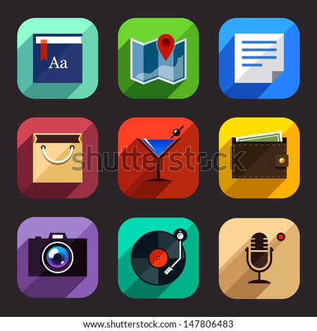 Flat style icons vector set. Graphic user interface modern elements. Vector illustration. - stock vector
