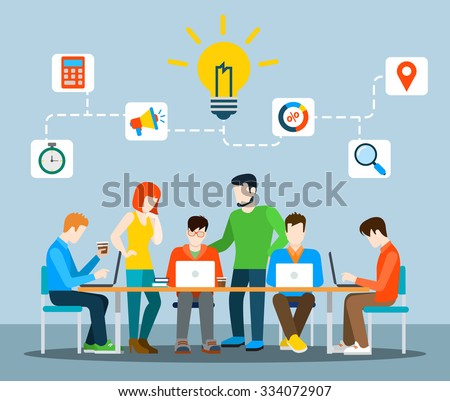 Flat style idea brainstorming creative team concept web infographics vector illustration. Creative people collection. Group of casual young male female working table icon connections. - stock vector