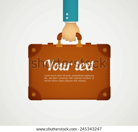 flat style illustration hand holding briefcase eps10 - stock vector