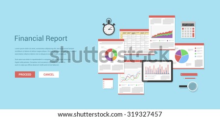 Flat style illustration of financial concept. Annual financial report, company strategy and management, money income, investments and planning.  - stock vector