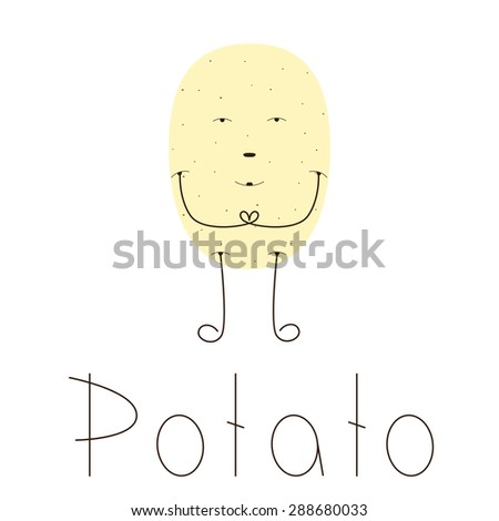 Flat style illustration of light brown pointed potato character with brown eyes, nose, mouth, long legs and hands. Lettering potato isolated on white background. Vegetarian menu decoration element - stock vector