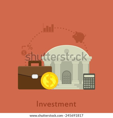 flat style illustration with icons for money investment concept - stock vector