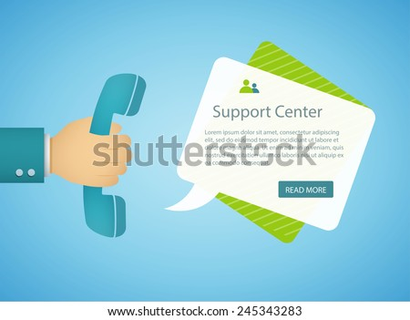 flat style illustration with retro phone and speech bubble eps10 - stock vector