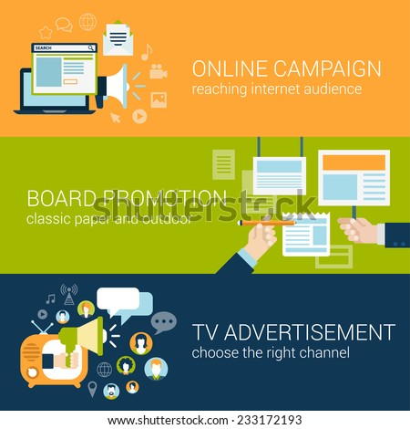 Flat style infographic advertising campaign types concept. Online social media promo, board promotion, tv advertisement web site icon banners templates set. Website conceptual flat vector collection. - stock vector