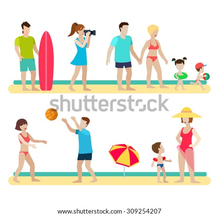 Flat style modern beach people family lifestyle icons situations web template infographic vector icon set. Photographer surfer couple children parenting volleyball umbrella. Men women lifestyle icons. - stock vector