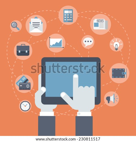 Flat style modern business innovation finance technology payment concept. Tablet on palm, finger touch screen infographics. Web icons collage: gadget, briefcase, wallet, credit card, calculator, clock - stock vector