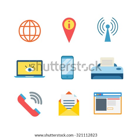 Flat style modern business messenger mobile web app interface concept icon set. Globe map pin wi-fi hotspot network laptop smartphone printer call message window. Website icons collection. - stock vector