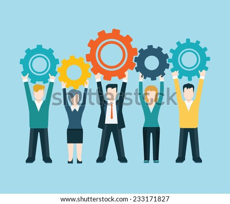 Flat style modern business people turn up cog wheel gear infographic concept. Conceptual web illustration teamwork workforce corporate spirit. Businessman and businesswoman pieces of company mechanism - stock vector
