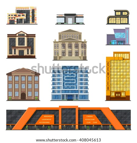 Flat style modern classic municipal buildings front, facade city design vector. Stylish design buildings front architecture collection. Facade buildings front house. Buildings front classic facade. - stock vector