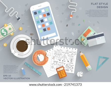Flat Style Modern Design Concept of Creative Office Workspace. Icons Collection of Business Work Flow Items and Elements, Office Things, Objects and Equipment for Workplace Design. Vector Illustration - stock vector