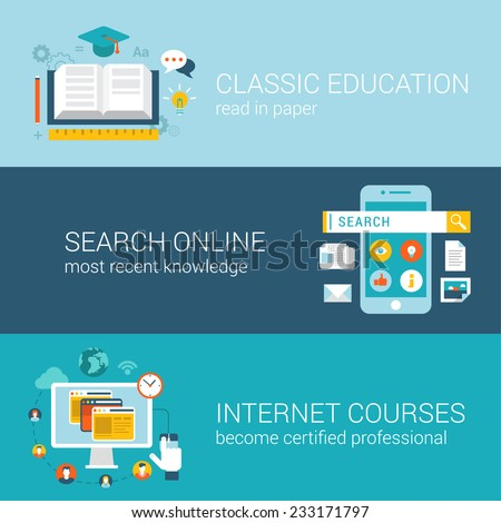 Flat style modern education infographic concept. Classic library book reading, online wiki search, internet course certification web site icon banners templates set. Template for parallax scroll. - stock vector