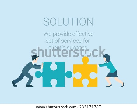 Flat style modern infographic business solution concept. Conceptual web illustration businessman and businesswoman characters connecting puzzle pieces. - stock vector