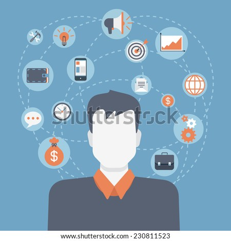 Flat style modern web businessman infographic icon collage. Vector illustration of business man in suit with activity lifestyle, work duties, responsibility icons. Finance, time management concept - stock vector